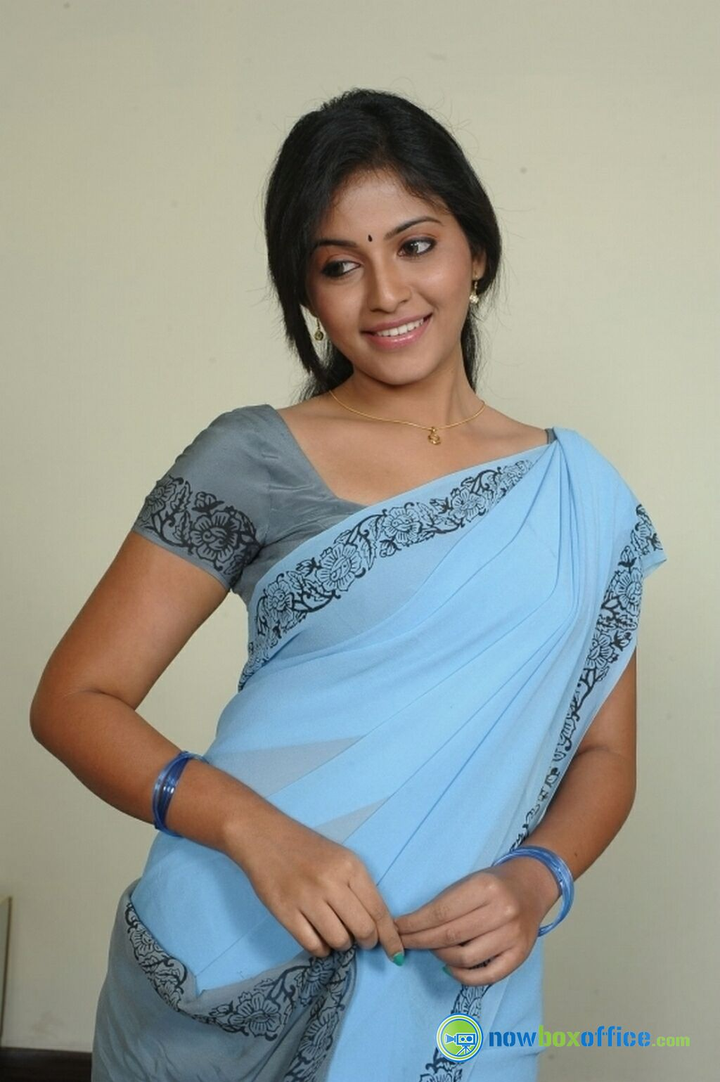 Anjali New Photoshoot Anjali Sky Blue Saree Stills (10 ...